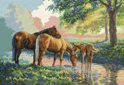 4162-14 Скакуны на водопое (Белоснежка) - Наборы для вышивания «Белоснежка»
