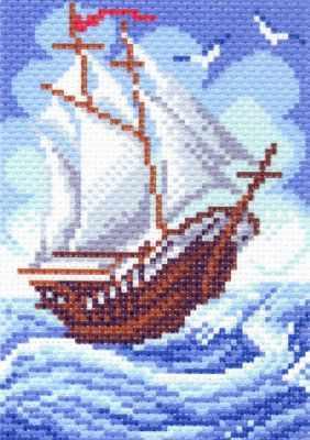 Основа для вышивания с нанесённым рисунком Матрёнин Посад 1438 Кораблик - рисунок на канве (МП)