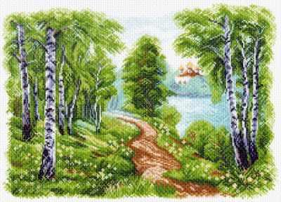 Основа для вышивания с нанесённым рисунком Матрёнин Посад 1513 Храм у озера - рисунок на канве (МП)