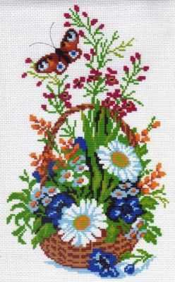Основа для вышивания с нанесённым рисунком Матрёнин Посад 416 Корзина ромашками (МП)