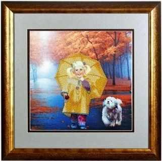 В1013 Под зонтом  рисунок на атласе (Alisena) - Атлас с рисунком «Alisena»