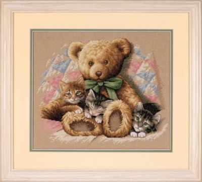 Набор для вышивания Dimensions 35236-DMS Мишка и котята