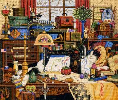 Набор для вышивания Dimensions 3884-DMS Кот в швейной комнате