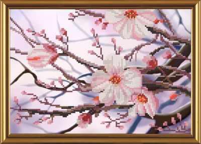Основа для вышивания с нанесённым рисунком Nova Sloboda Бис 4241 Яблоневый цвет (рисунок на ткани)