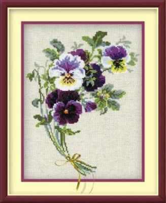 Набор для вышивания Риолис (Сотвори Сама) 1020 «Букет анютиных глазок на льне»