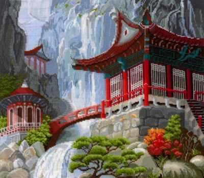 Набор для вышивания Сделай своими руками В-12 Водопад и пагода