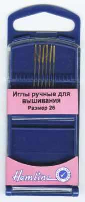 Игла HEMLINE 283G.26 Иглы для вышивания №26, 6 шт. игла иглы organ jersey 100 серебристый