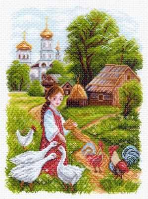 Основа для вышивания с нанесённым рисунком Матрёнин Посад 1552 На птичьем дворе рисунок на канве (МП)