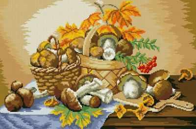 Грибное лукошко (АЖ-1013)  картина стразами - Мозаика из страз «Алмазная живопись»