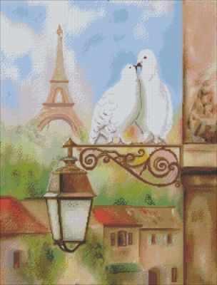 SPP-001  Любовь и голуби   схема на габардине - Схемы на атласе «Картины бисером»
