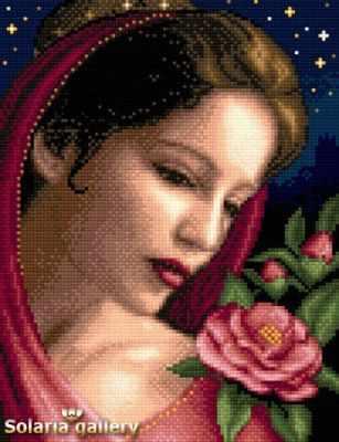 Набор для вышивания Solaria Gallery 8112-30 Девушка с камелиями - бумажная схема