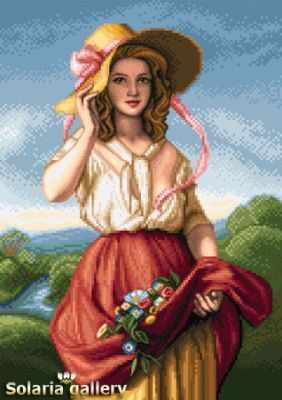 Набор для вышивания Solaria gallery 8113-20 Девушка с цветами - бумажная схема