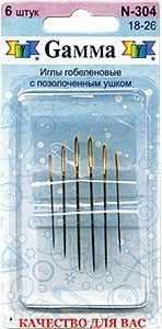 Игла Gamma Иглы для шитья гобеленовые №18-26 N-304 6 шт. игла иглы organ jersey 100 серебристый