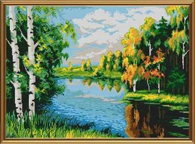 Основа для вышивания с нанесённым рисунком Nova Sloboda БИС 0115 Тихая река (рисунок на ткани)