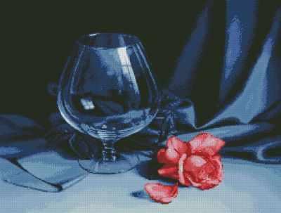 Бокал и Роза (АЖ-1050)  картина стразами - Мозаика из страз «Алмазная живопись»