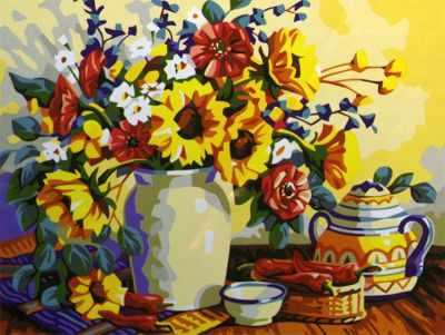 Набор для раскрашивания по номерам Menglei MG196 Чай с цветами - раскраска (Menglei)