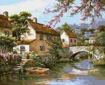 Набор для рисования по номерам Белоснежка 359-CG Деревенька у канала - раскраска (Белоснежка)
