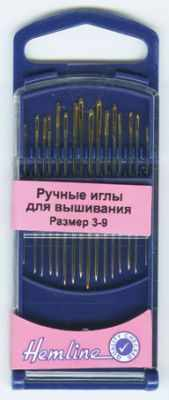 Игла HEMLINE 280G39 Иглы для вышивания с острым кончиком в пластиковом контейнере №3-9, 16шт