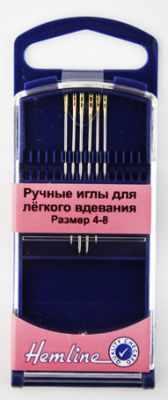 Иглыбулавки Hemline 216G48 Иглы ручные для лёгкого вдевания в пластиковом контейнере № 4-8, 6 шт