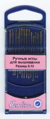Игла HEMLINE 280G510 Иглы для вышивания с острым кончиком в пластиковом контейнере № 5-10, 16шт