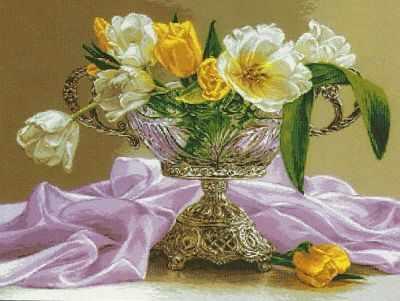 Набор для вышивания Goblenset 0967 Tulips in a silver vase
