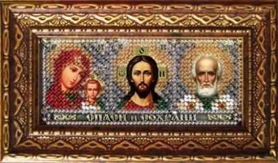 173-ПИ Триптих-Казанская,Спаситель,Николай-Чудотворец (ВМ) - Наборы для вышивания икон «Вышивальная мозаика»