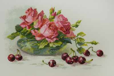 Фото - Набор для вышивания Марья искусница 04.005.16 Розы и черешня набор для вышивания марья искусница 16 001 04 дубовые листья