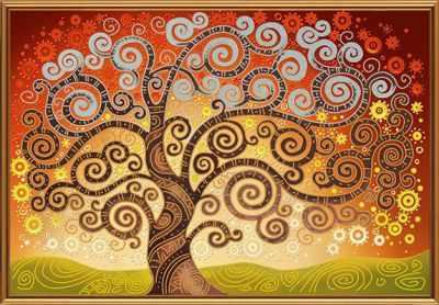 Основа для вышивания с нанесённым рисунком Nova Sloboda БИС 0282 Дерево счастья (рисунок на ткани)