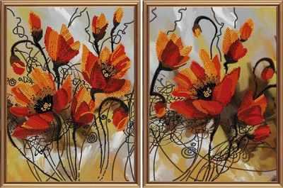 Основа для вышивания с нанесённым рисунком Nova Sloboda В21008 Огненные цветы
