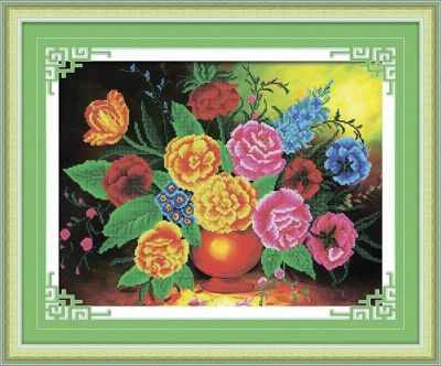 Купить со скидкой 8442 Цветы в вазе - мозаика Anya
