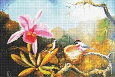Мозаичная картина Anya Алмазная вышивка 71014,49 Цветы и птицы - мозаика Anya алмазная мозаика тм цветной нежные цветы в белой вазе 40x50 см