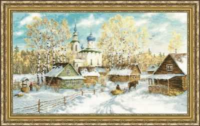 Набор для вышивания Золотое Руно МД-012 Деревенская зима. Моя деревня