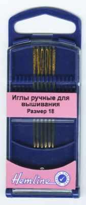Игла HEMLINE 283G.18 Иглы для вышивания с закруглённым кончиком в пластиковом контейнере №18, 6шт