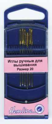 Игла HEMLINE 283G.20 Иглы для вышивания с закруглённым кончиком в пластиковом контейнере №20, 6шт
