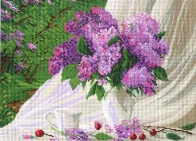 Основа для вышивания с нанесённым рисунком Матрёнин Посад 789 Сиреневое утро - рисунок на канве (МП) канва с нанесенным рисунком матренин посад малинка для вышивания крестом 16 х 20 см