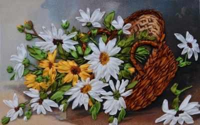 Набор для вышивания Рисуем лентами 015-100 Корзина с ромашками