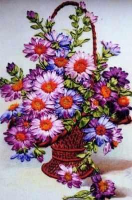 Набор для вышивания Рисуем лентами Увл-08 Хризантемы