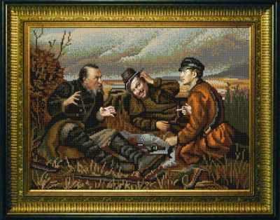 Купить со скидкой НИК 9774 Охотники на привале - рисунок на ткани