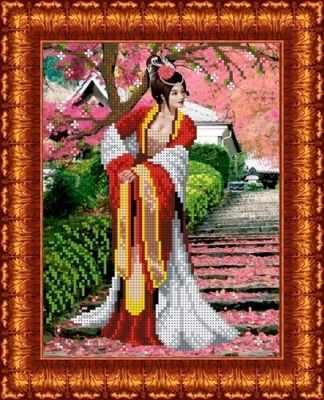 Основа для вышивания с нанесённым рисунком Каролинка КБЛ 4010 Японский сад - схема для вышивания (Каролинка)