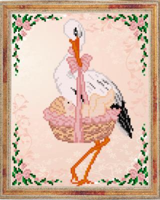 Основа для вышивания с нанесённым рисунком Art Solo VKA4038 С рождением девочки - схема для вышивания (Art Solo)