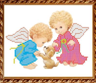 Основа для вышивания с нанесённым рисунком Art Solo VKA5007 Ангелочки собачкой - схема (Art Solo)