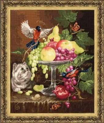 Набор для вышивания Золотое Руно ГН-013 Ваза с фруктами. Староголландский натюрморт