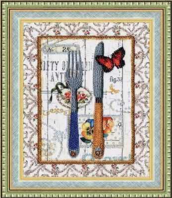 Набор для вышивания Золотое Руно РТ-093 Стильная кухня. Вилка и нож. Рисунок на ткани