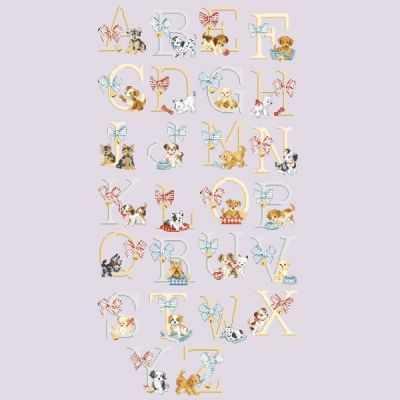ABCTOU/GRI Большой алфавит  Собачки  (ПВ) - Наборы для вышивания «Парижские Вышивальщицы»