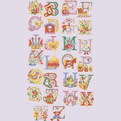 ABCB/GRI Большой алфавит  Бабушка  (ПВ) - Наборы для вышивания «Парижские Вышивальщицы»