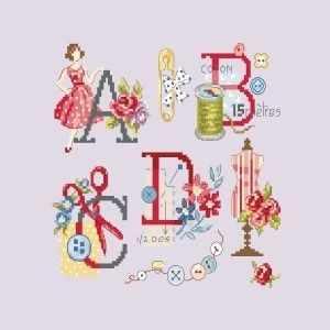 ABCA/GRI Большой алфавит  Одри  (ПВ) - Наборы для вышивания «Парижские Вышивальщицы»