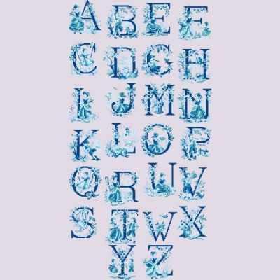 ABCTJB/GRI Большой алфавит  В стиле жуи  голубого цвета (ПВ) - Наборы для вышивания «Парижские Вышивальщицы»