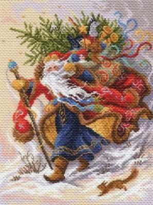 Основа для вышивания с нанесённым рисунком Матрёнин Посад 1702 Дед Мороз - рисунок на канве (МП) фигурка новогодняя феникс презент дед мороз в синем костюме высота 30 см