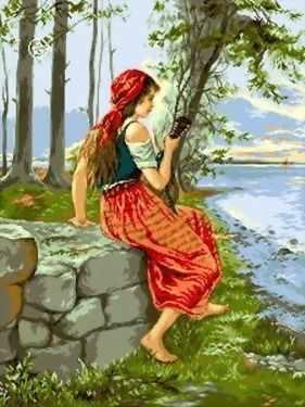 Набор для вышивания Goblenset 0511 Девушка с мандолиной