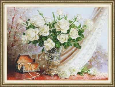 Набор для вышивания Золотое Руно РТ-099 Белые розы. Рисунок на ткани